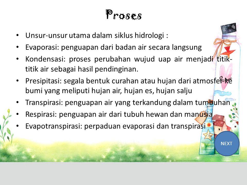 Proses Unsur-unsur utama dalam siklus hidrologi :