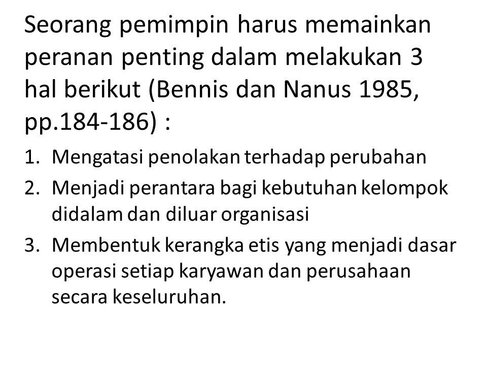 Seorang pemimpin harus memainkan peranan penting dalam melakukan 3 hal berikut (Bennis dan Nanus 1985, pp.184-186) :