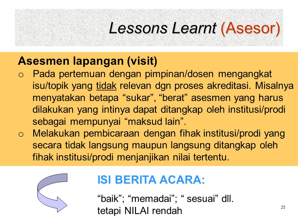 Lessons Learnt (Asesor)