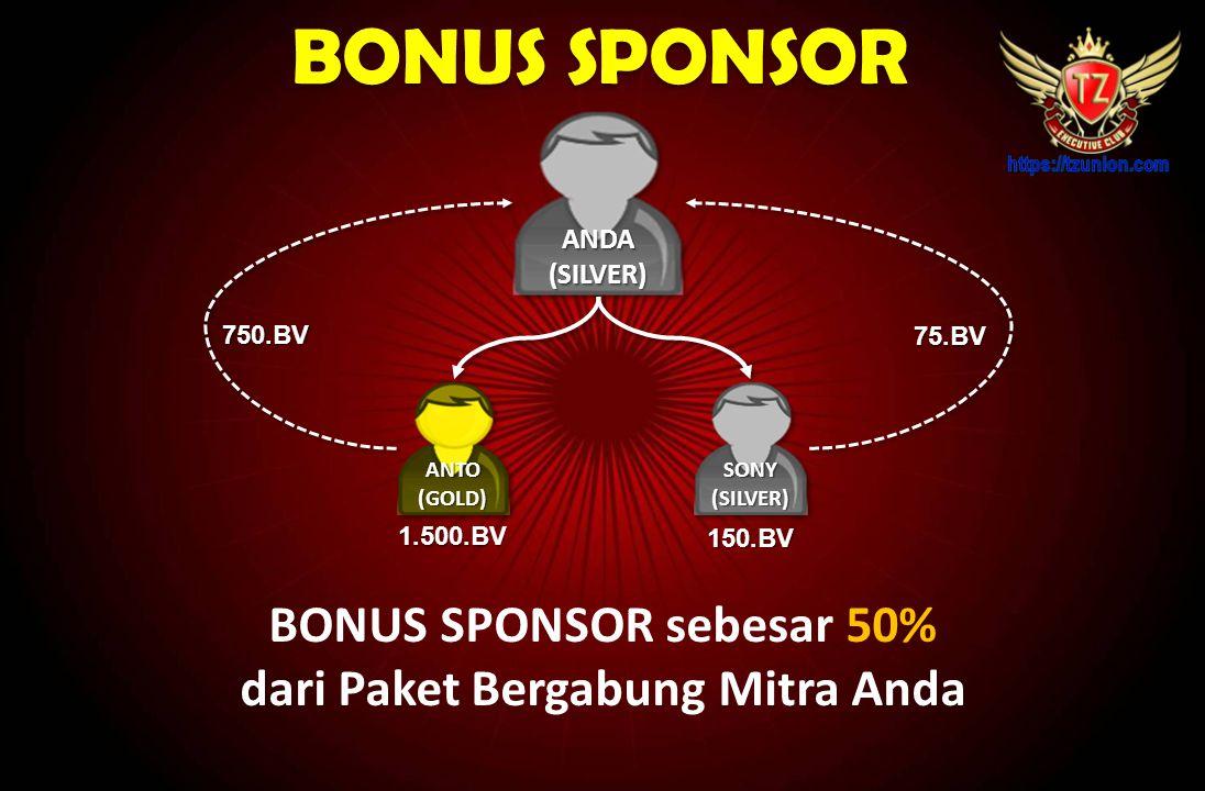 BONUS SPONSOR sebesar 50% dari Paket Bergabung Mitra Anda