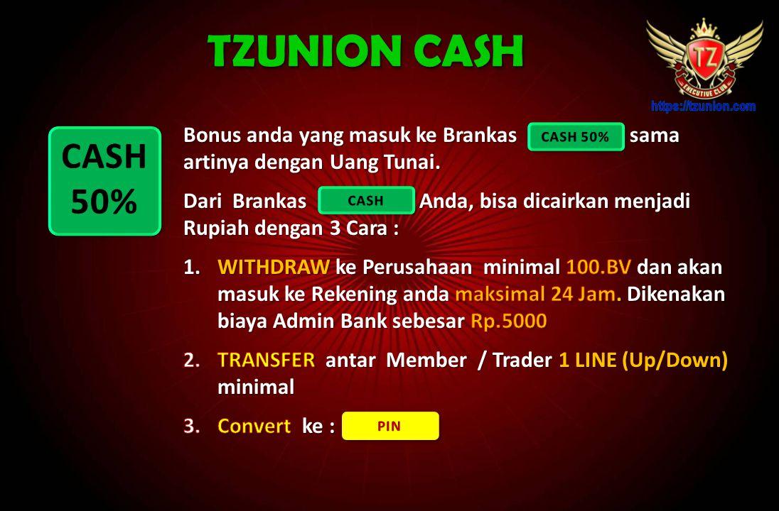 TZUNION CASH Bonus anda yang masuk ke Brankas sama artinya dengan Uang Tunai.