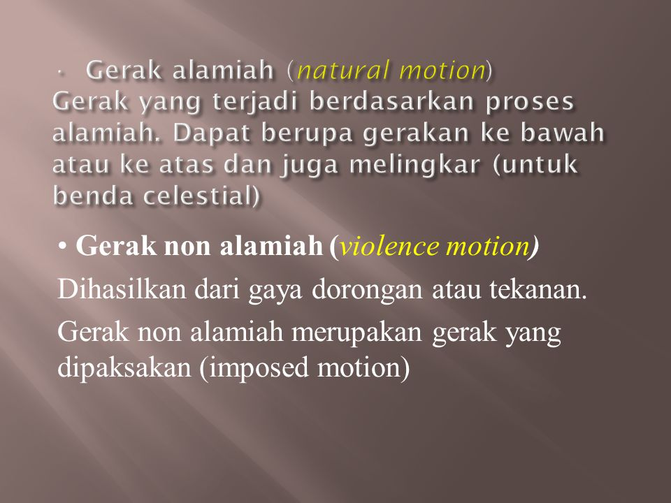 Gerak non alamiah (violence motion)