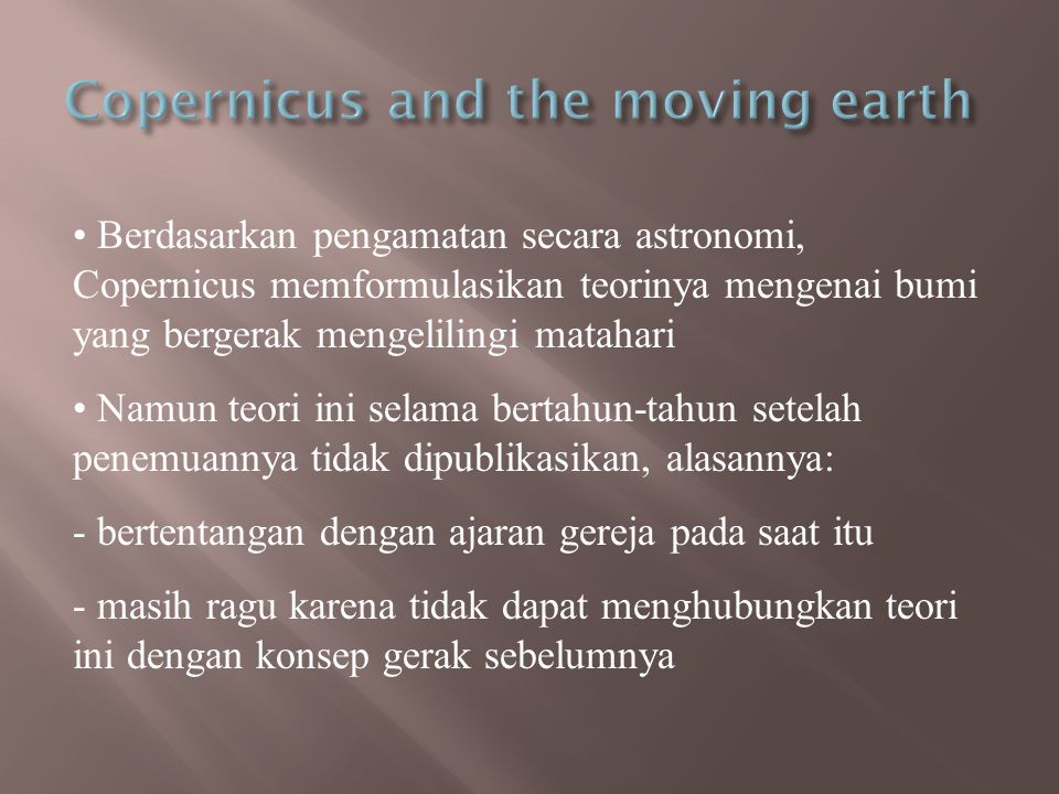 Copernicus and the moving earth
