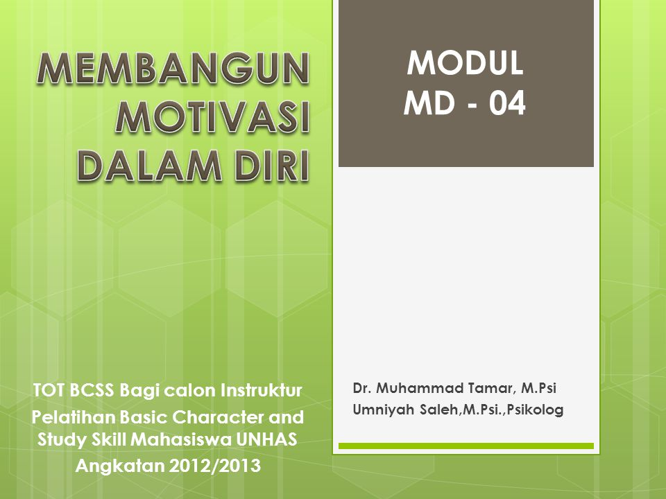 Dr. Muhammad Tamar, M.Psi Umniyah Saleh,M.Psi.,Psikolog