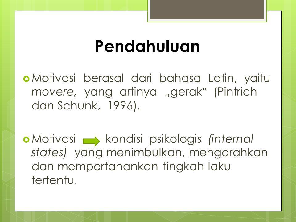 "Pendahuluan Motivasi berasal dari bahasa Latin, yaitu movere, yang artinya ""gerak"" (Pintrich dan Schunk, 1996)."