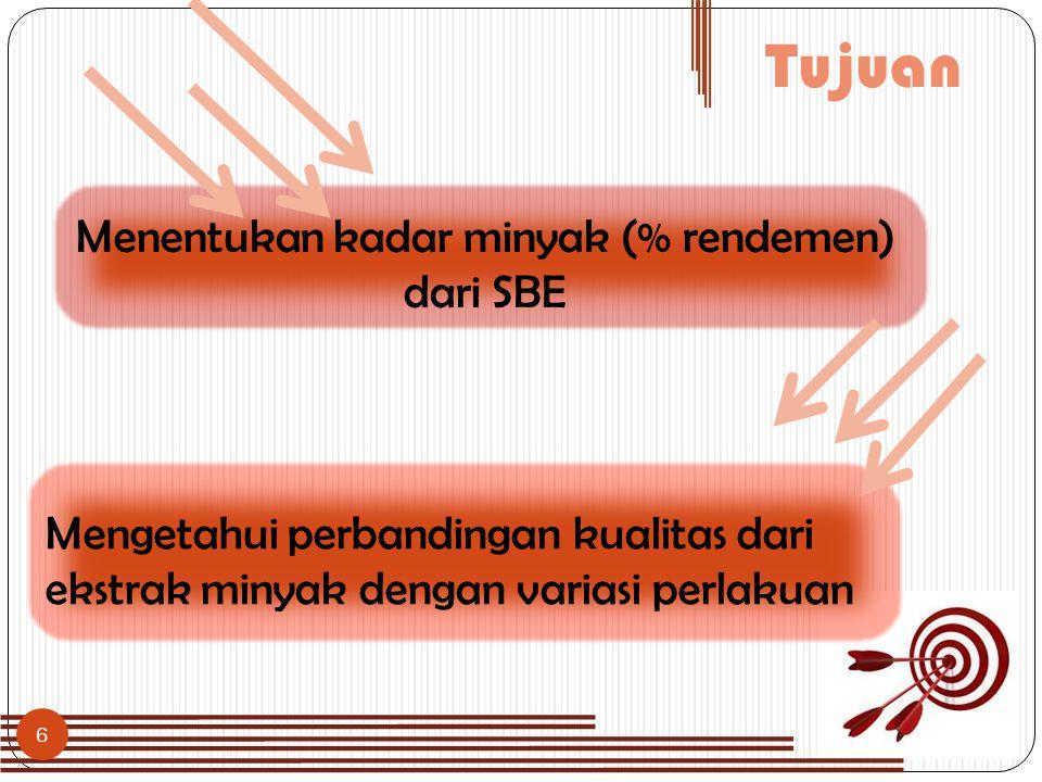 Menentukan kadar minyak (% rendemen) dari SBE
