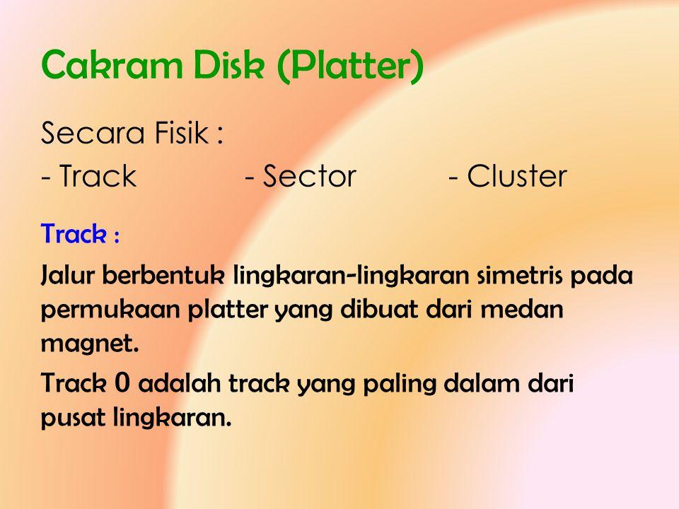 Cakram Disk (Platter) Secara Fisik : - Track - Sector - Cluster