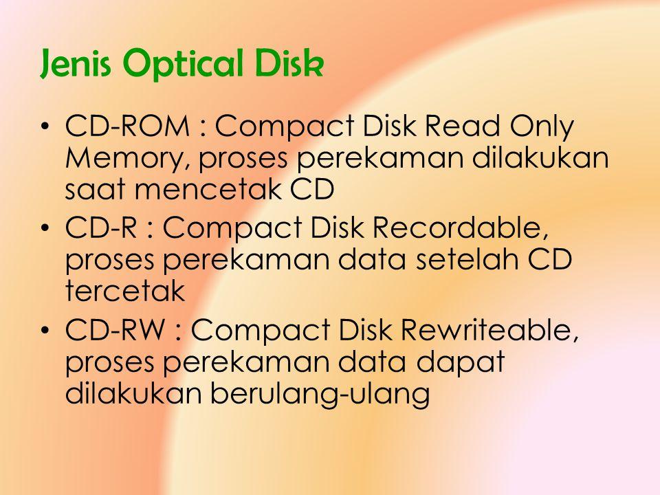 Jenis Optical Disk CD-ROM : Compact Disk Read Only Memory, proses perekaman dilakukan saat mencetak CD.