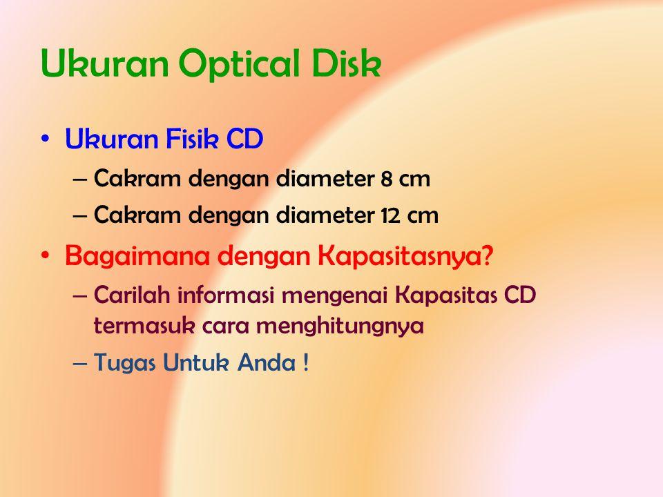 Ukuran Optical Disk Ukuran Fisik CD Bagaimana dengan Kapasitasnya