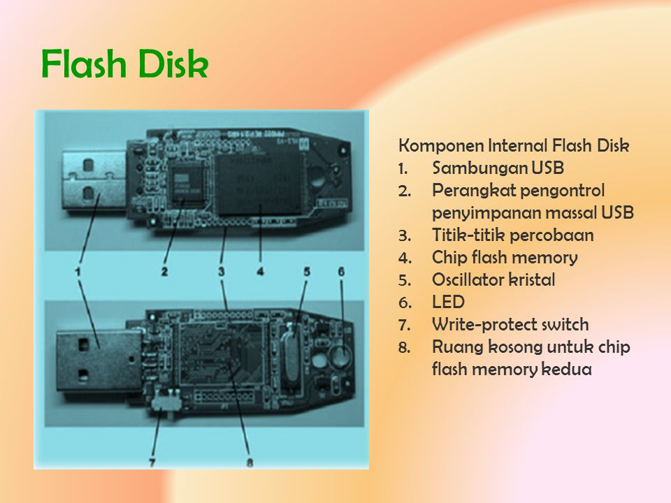 Flash Disk Komponen Internal Flash Disk Sambungan USB