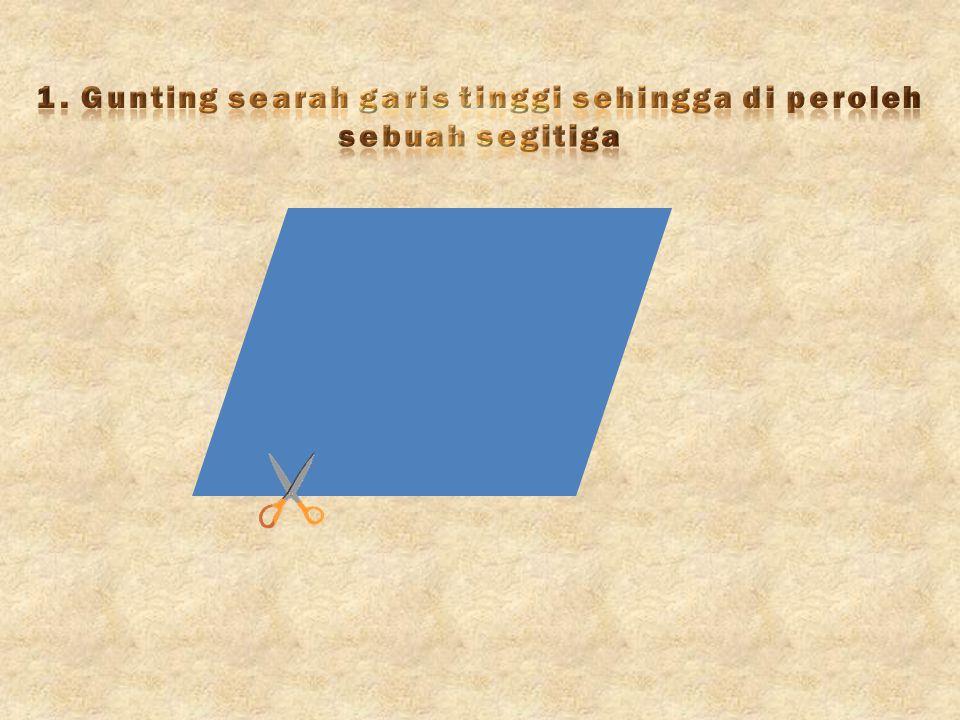 1. Gunting searah garis tinggi sehingga di peroleh sebuah segitiga