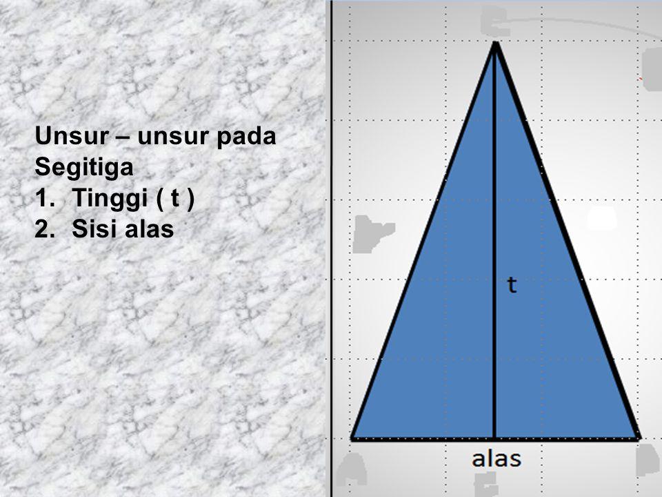 Unsur – unsur pada Segitiga Tinggi ( t ) Sisi alas