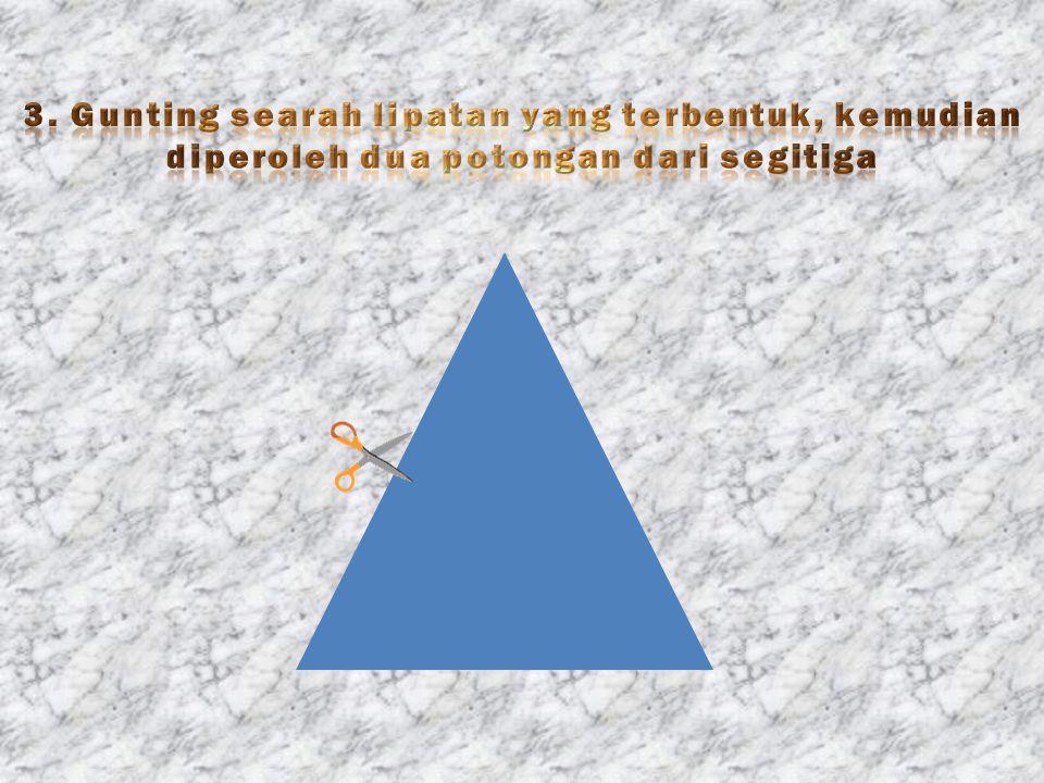 3. Gunting searah lipatan yang terbentuk, kemudian diperoleh dua potongan dari segitiga