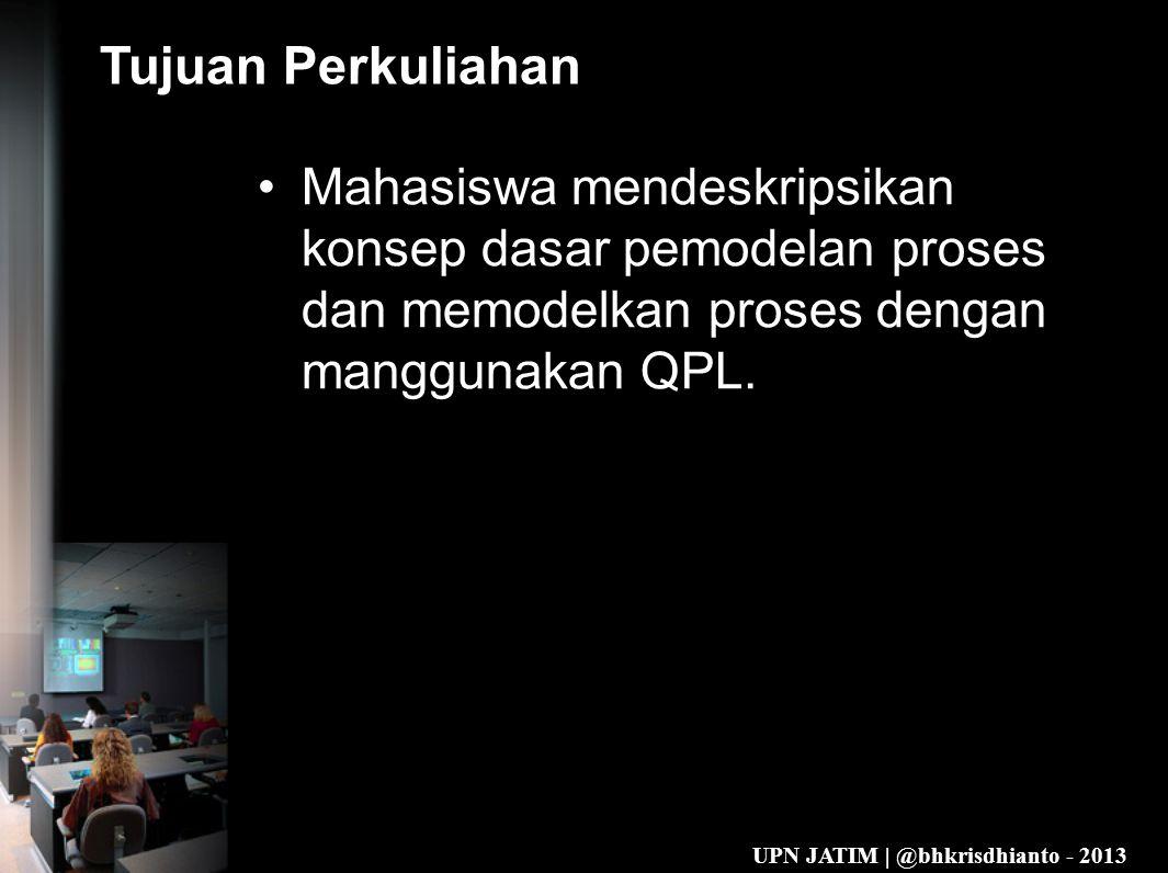 Tujuan Perkuliahan Mahasiswa mendeskripsikan konsep dasar pemodelan proses dan memodelkan proses dengan manggunakan QPL.