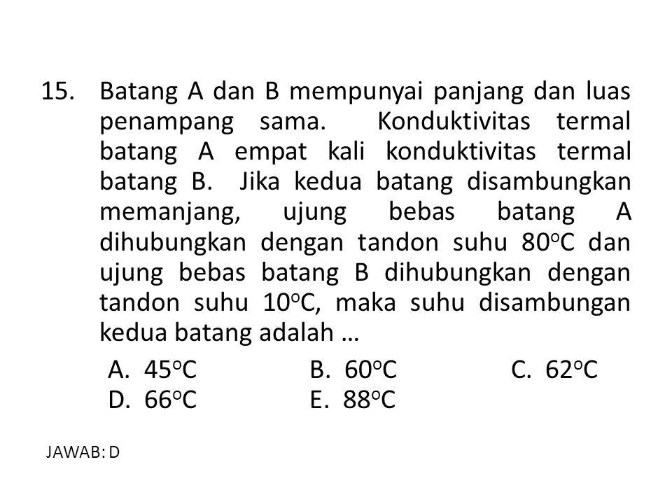15. Batang A dan B mempunyai panjang dan luas penampang sama