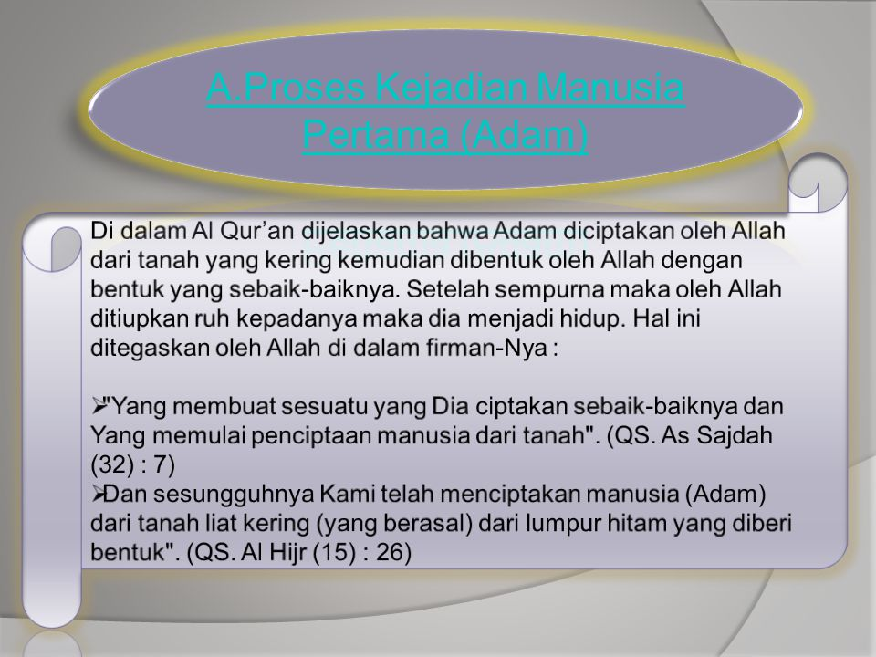 A.Proses Kejadian Manusia Pertama (Adam)
