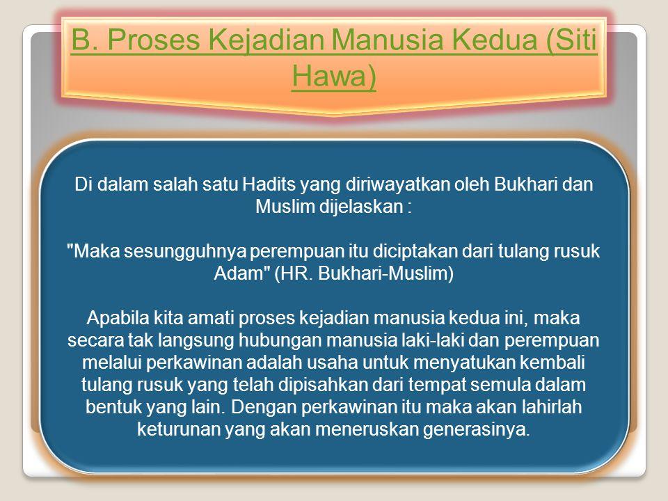 B. Proses Kejadian Manusia Kedua (Siti Hawa)