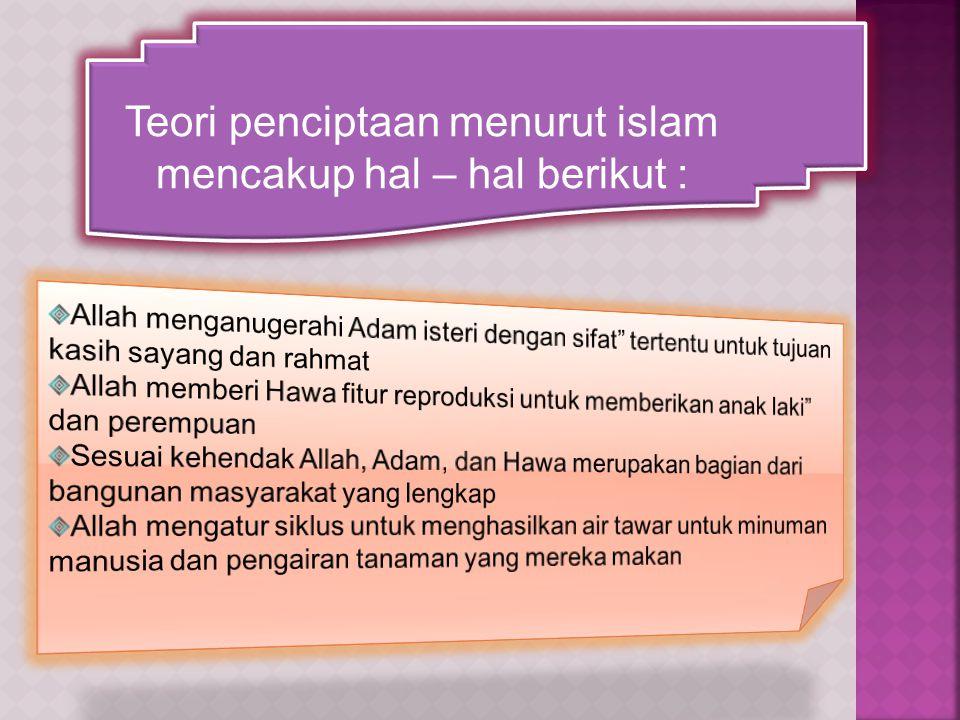 Teori penciptaan menurut islam mencakup hal – hal berikut :