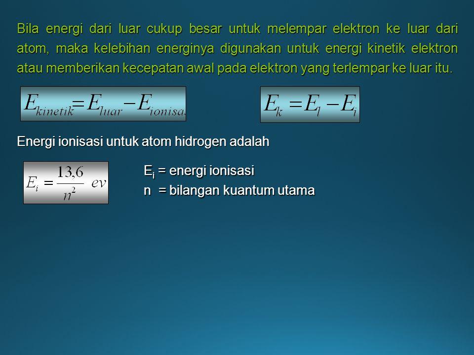 Bila energi dari luar cukup besar untuk melempar elektron ke luar dari atom, maka kelebihan energinya digunakan untuk energi kinetik elektron atau memberikan kecepatan awal pada elektron yang terlempar ke luar itu.