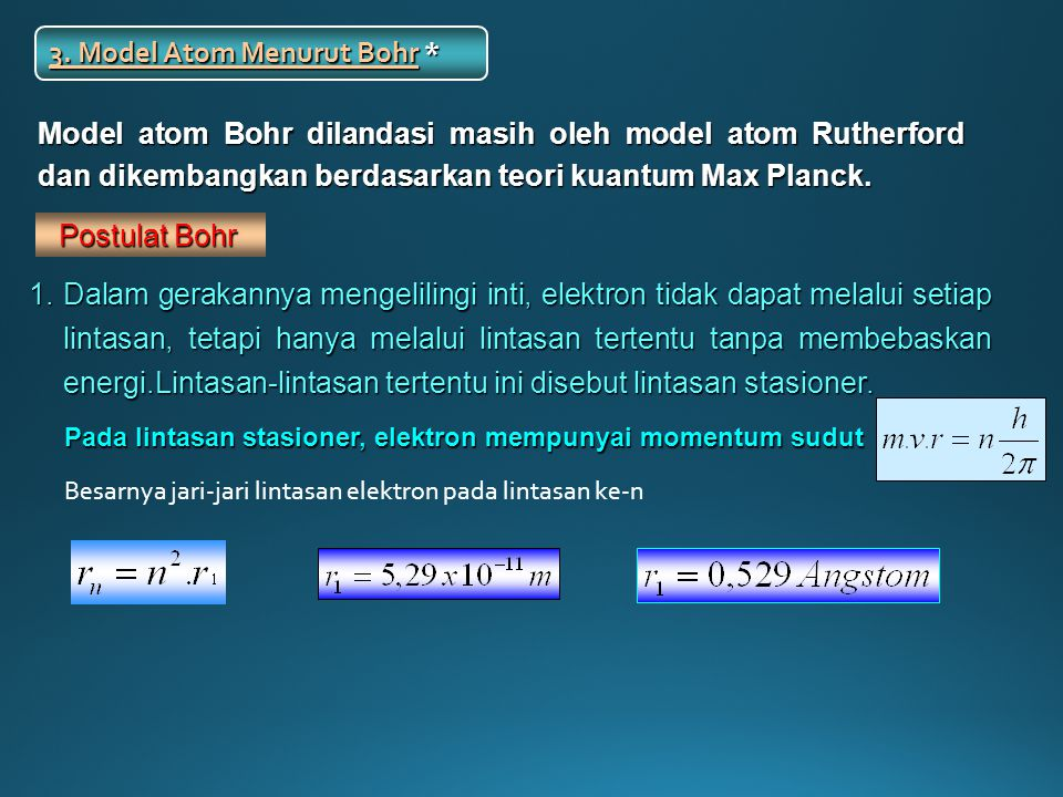 3. Model Atom Menurut Bohr *