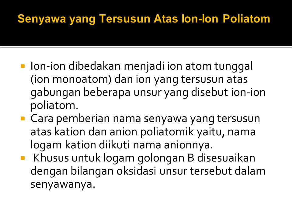 Senyawa yang Tersusun Atas Ion-Ion Poliatom