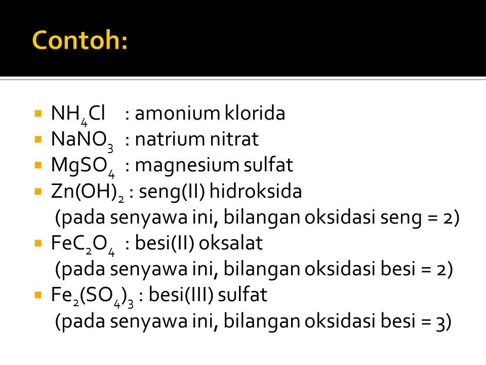 Contoh: NH4Cl : amonium klorida NaNO3 : natrium nitrat