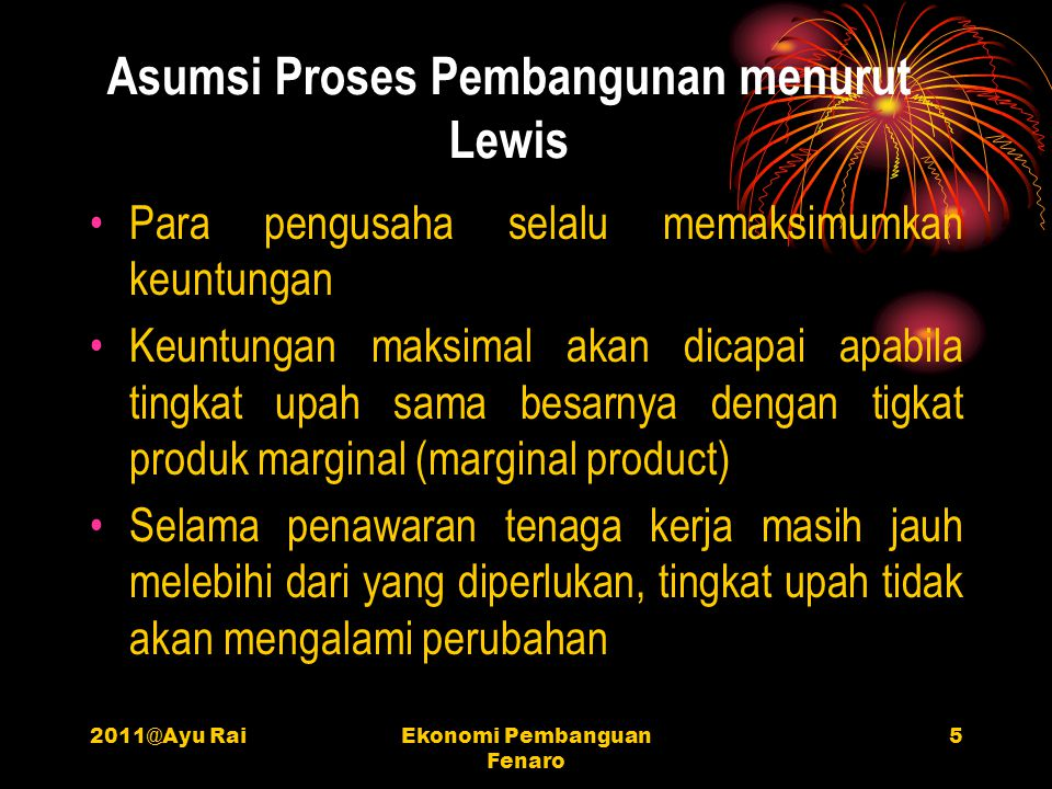 Asumsi Proses Pembangunan menurut Lewis