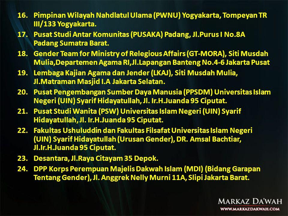 Pimpinan Wilayah Nahdlatul Ulama (PWNU) Yogyakarta, Tompeyan TR III/133 Yogyakarta.
