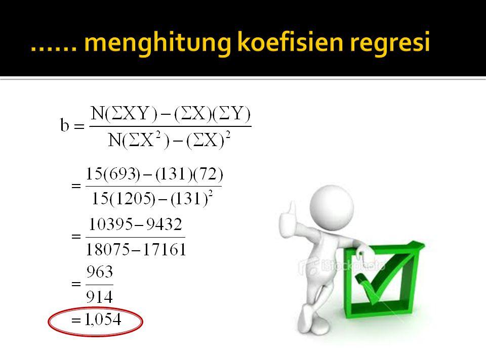 …… menghitung koefisien regresi