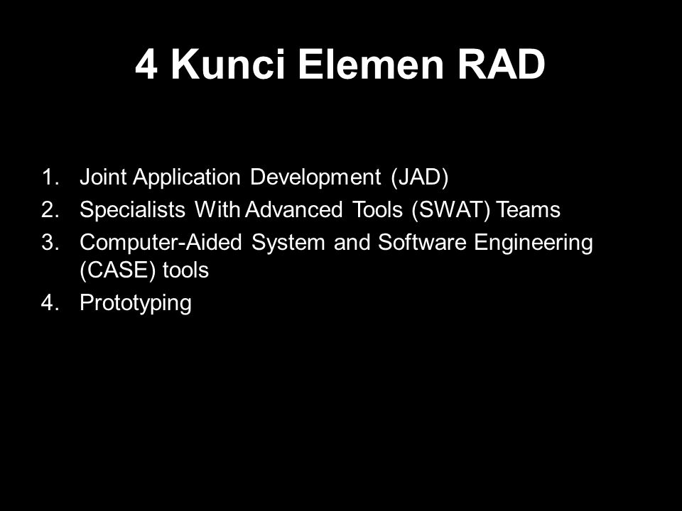 4 Kunci Elemen RAD Joint Application Development (JAD)