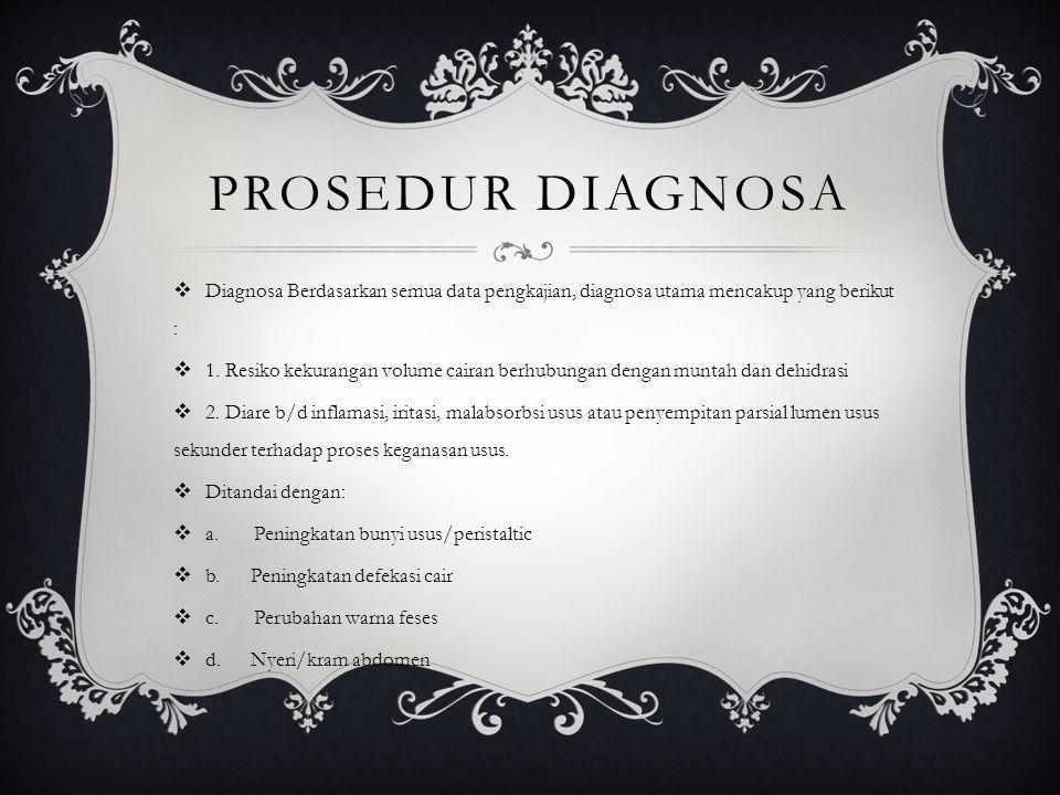 PROSEDUR DIAGNOSA Diagnosa Berdasarkan semua data pengkajian, diagnosa utama mencakup yang berikut :