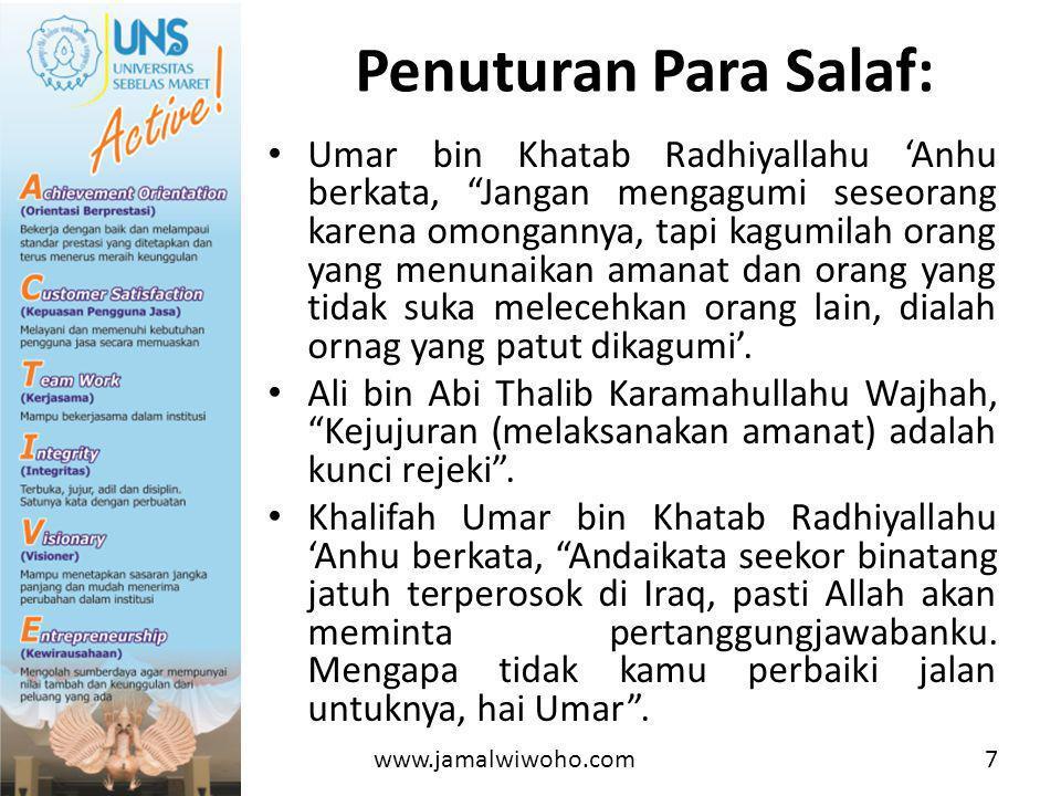 Penuturan Para Salaf:
