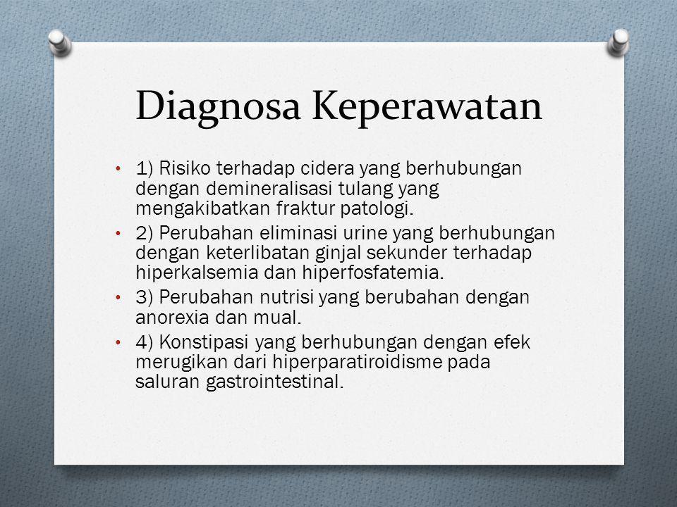 Diagnosa Keperawatan 1) Risiko terhadap cidera yang berhubungan dengan demineralisasi tulang yang mengakibatkan fraktur patologi.