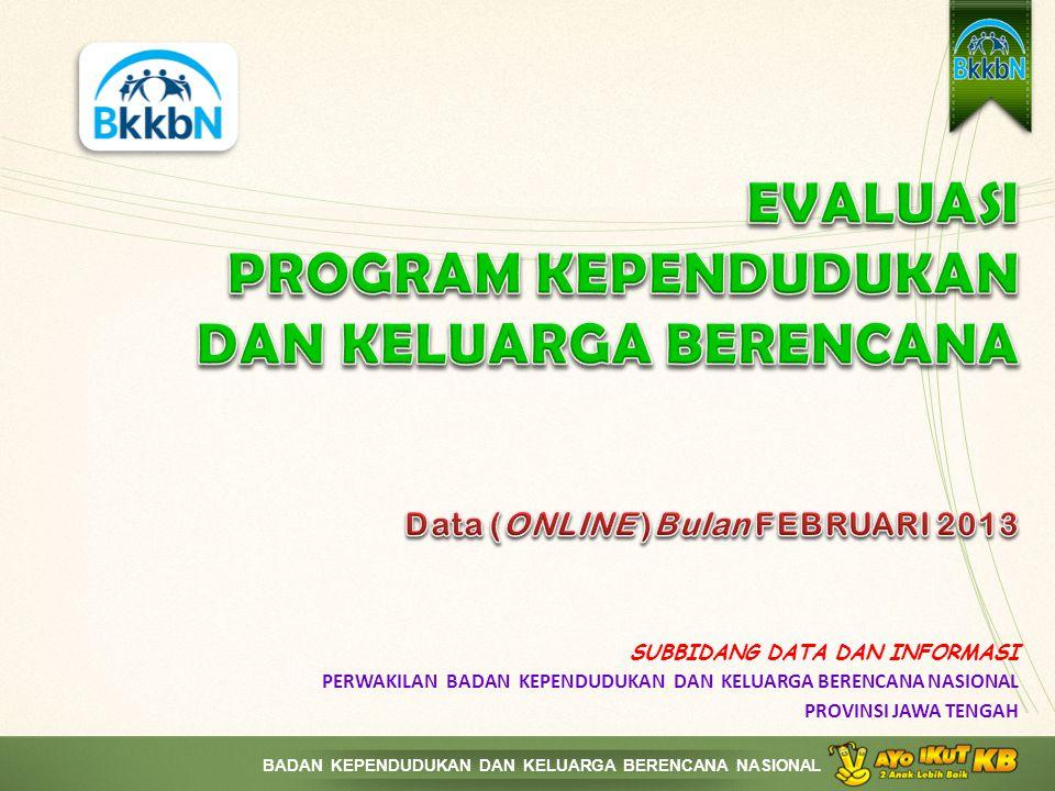 EVALUASI PROGRAM KEPENDUDUKAN DAN KELUARGA BERENCANA Data (ONLINE )Bulan FEBRUARI 2013