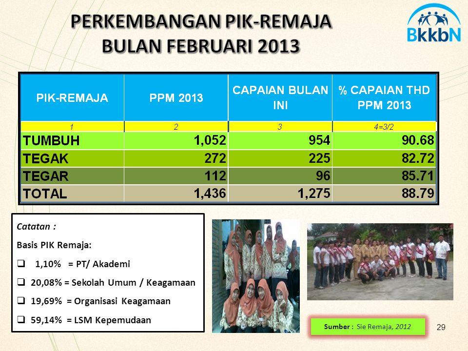 PERKEMBANGAN PIK-REMAJA BULAN FEBRUARI 2013