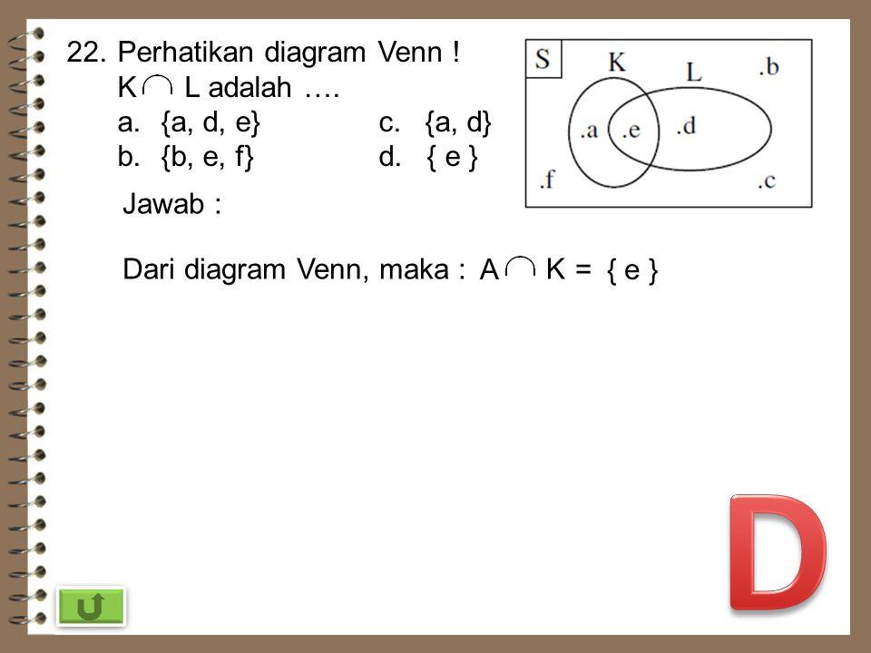D 22. Perhatikan diagram Venn ! K L adalah …. {a, d, e} c. {a, d}