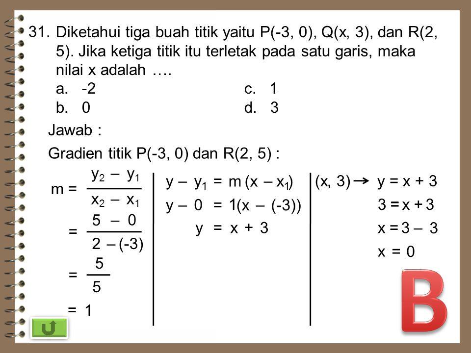 31. Diketahui tiga buah titik yaitu P(-3, 0), Q(x, 3), dan R(2, 5). Jika ketiga titik itu terletak pada satu garis, maka nilai x adalah ….