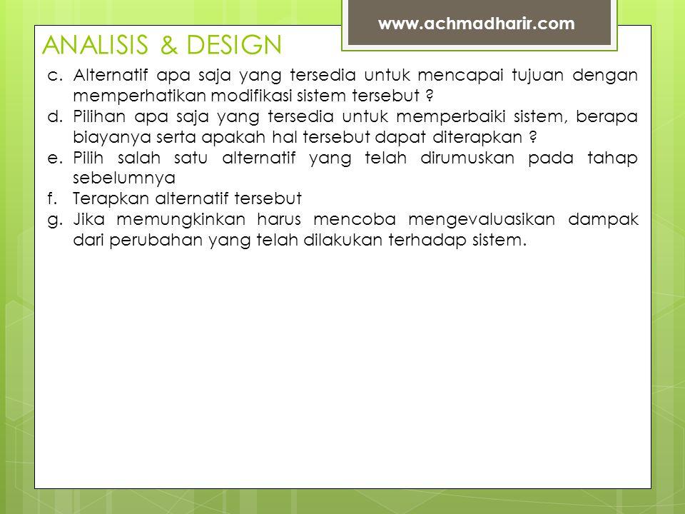ANALISIS & DESIGN www.achmadharir.com