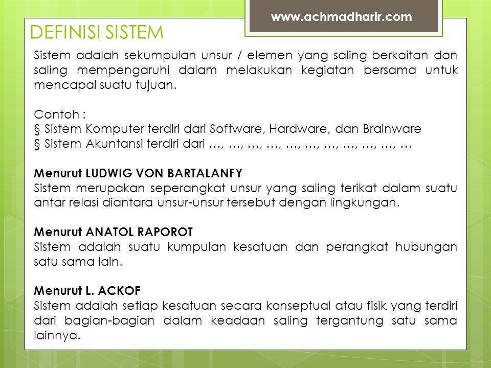 DEFINISI SISTEM www.achmadharir.com