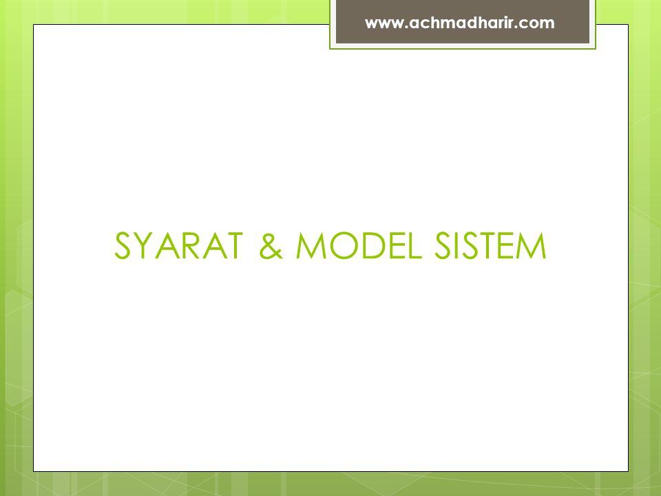 www.achmadharir.com SYARAT & MODEL SISTEM