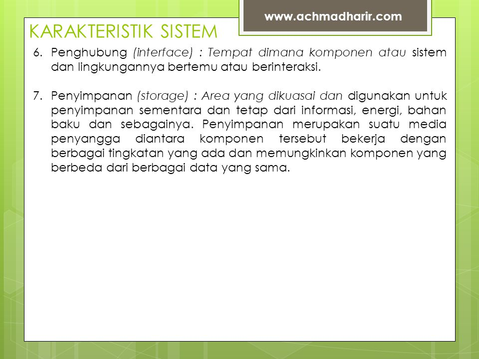 KARAKTERISTIK SISTEM www.achmadharir.com