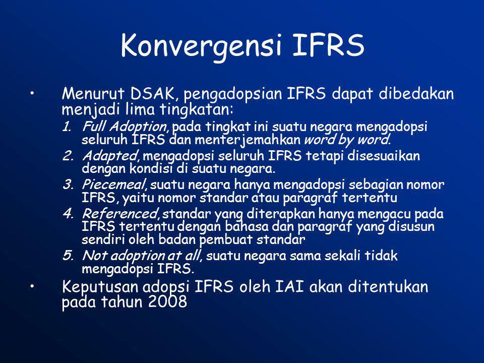 Konvergensi IFRS Menurut DSAK, pengadopsian IFRS dapat dibedakan menjadi lima tingkatan: