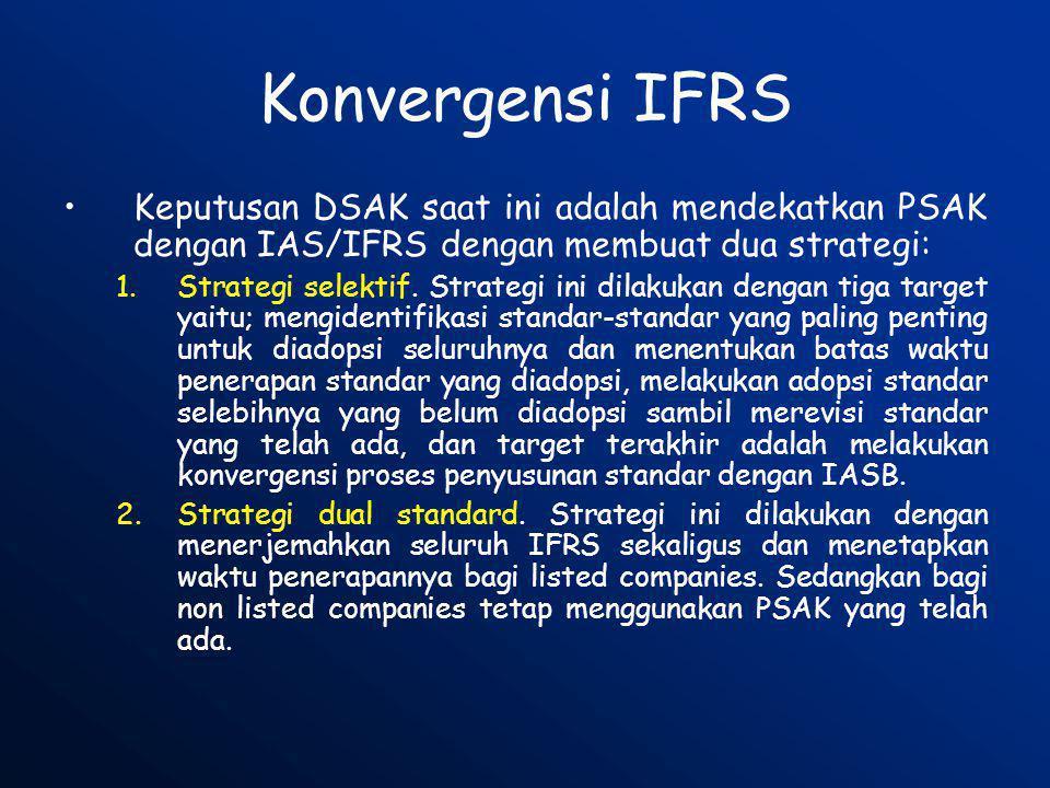 Konvergensi IFRS Keputusan DSAK saat ini adalah mendekatkan PSAK dengan IAS/IFRS dengan membuat dua strategi: