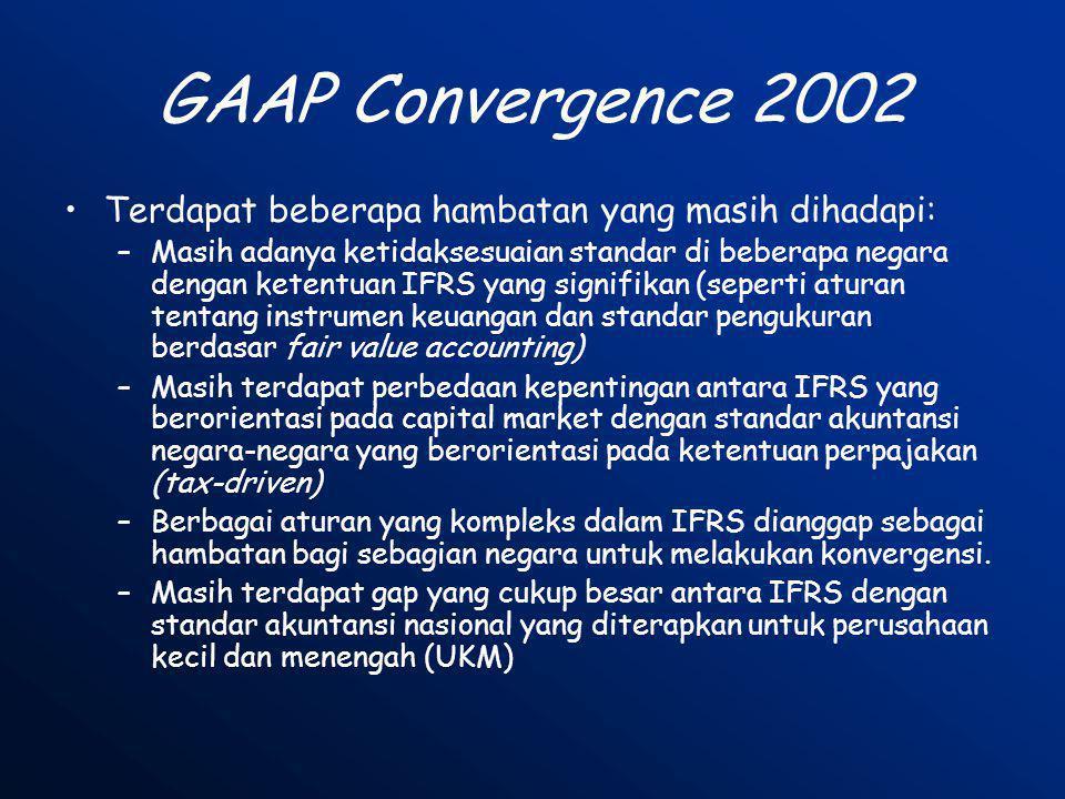 GAAP Convergence 2002 Terdapat beberapa hambatan yang masih dihadapi: