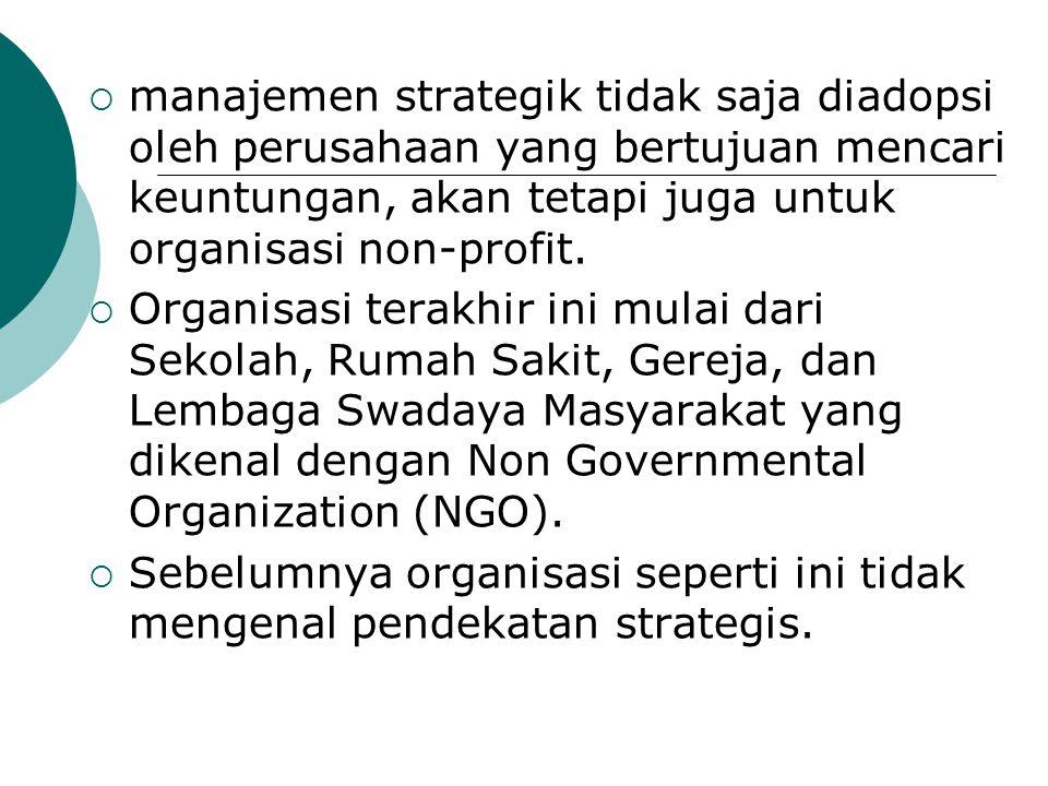 manajemen strategik tidak saja diadopsi oleh perusahaan yang bertujuan mencari keuntungan, akan tetapi juga untuk organisasi non-profit.