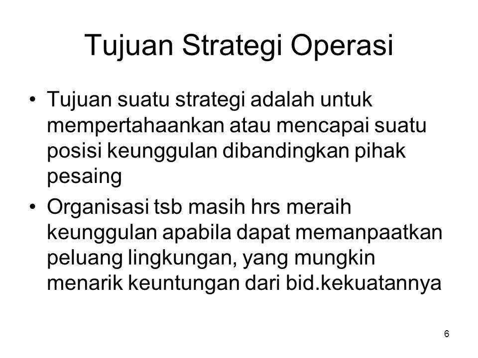 Tujuan Strategi Operasi