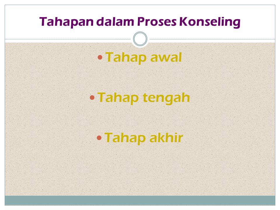 Tahapan dalam Proses Konseling