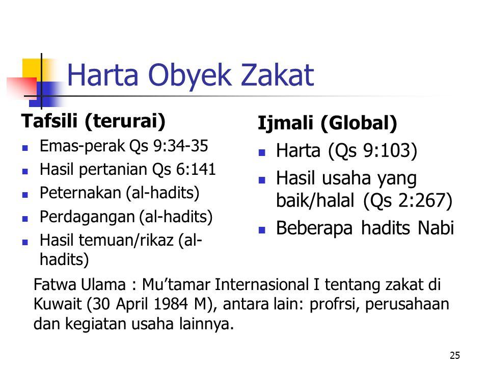 Harta Obyek Zakat Tafsili (terurai) Ijmali (Global) Harta (Qs 9:103)