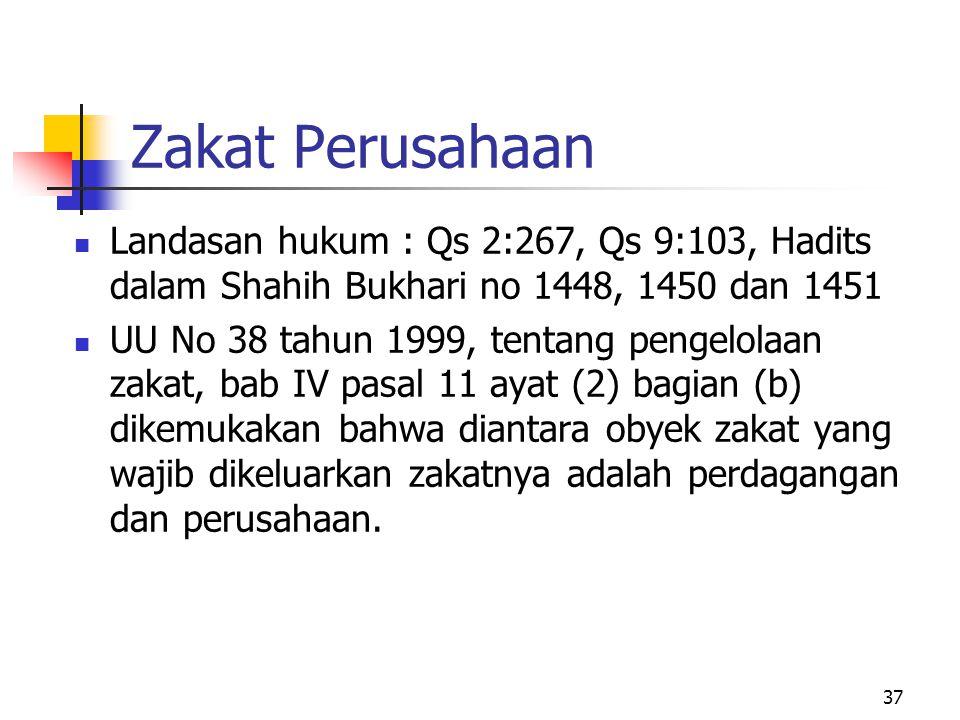Zakat Perusahaan Landasan hukum : Qs 2:267, Qs 9:103, Hadits dalam Shahih Bukhari no 1448, 1450 dan 1451.