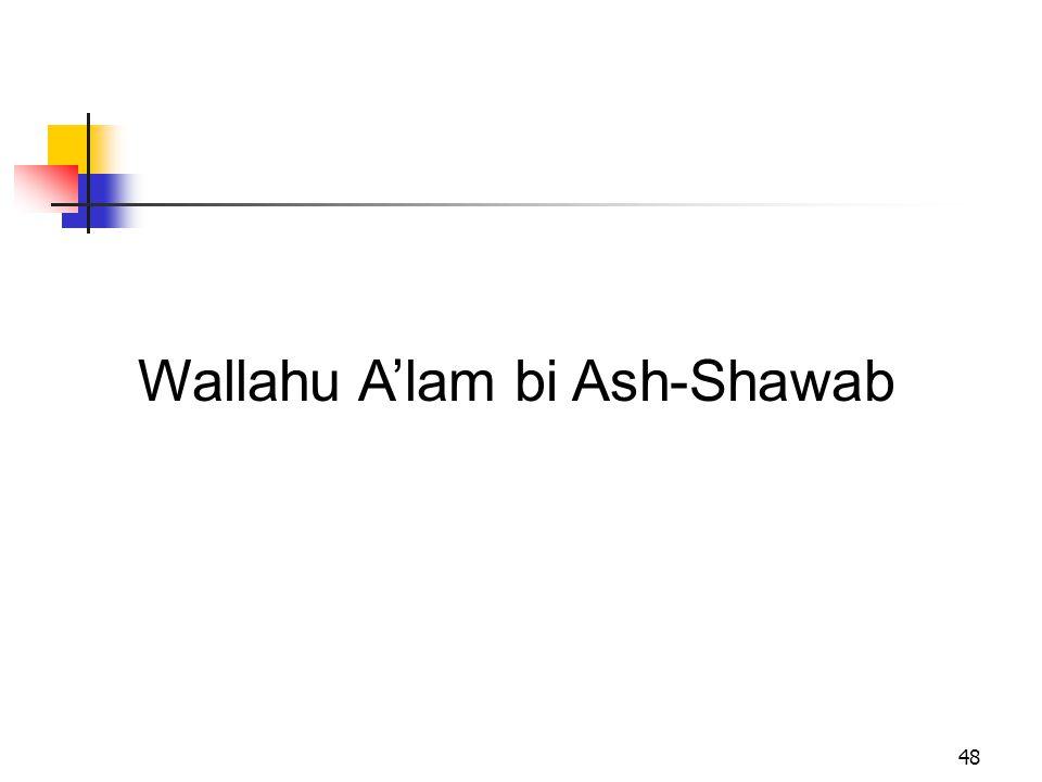 Wallahu A'lam bi Ash-Shawab